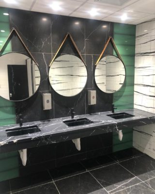 A small glimpse in a multi phase facelift we are doing in this office building, these beautiful restrooms designed by the amazing @thedesignersgroup are sure to attract new tenants as well as retain the existing. #magnicospeed #restrooms #commercialrealestate #officersofcolor #commercialconstruction #commercialphotography #photography
