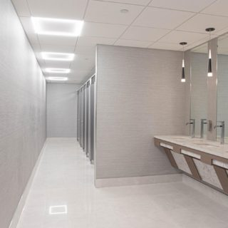 Wow the tenants in this office building are definitely going to love this brand new restroom #bathroomdesign #commercialrealestate #magnciospeed design completed by the talented @hhdesigners